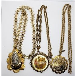3-VINTAGE GOLD TONED NECKLACES WITH LARGE