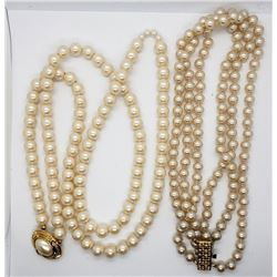 2-VINTAGE PEARL-LIKE LAYERED NECKLACES