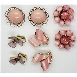 4-VINTAGE GOLD TONED PINK CLIP ON EARRINGS