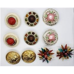 6-PAIRS OF LARGE CIRCULAR CLIP ON EARRINGS