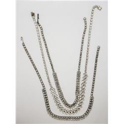 3-VINTAGE SILVER TONED RHINESTONE NECKLACES