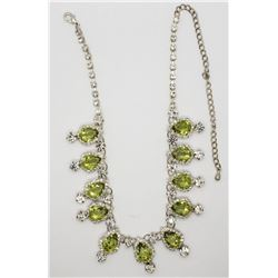 GORGEOUS! RHINESTONE NECKLACE WITH LIME