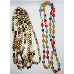 2-MULTI COLORED BEADED LONG NECKLACES