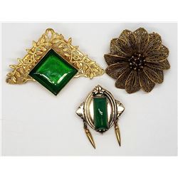 3-GOLD TONED VINTAGE BROOCHES
