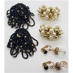 3-PARIS OF LARGED BEADED CLIP ON EARRINGS
