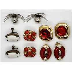 5-PAIRS OF VINTAGE RED & WHITE CLIP ON EARRINGS