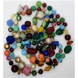66 INCH VINTAGE MULTI COLORED GLASS BEAD