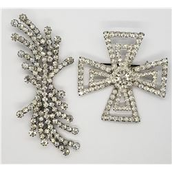 2-SILVER TONED RHINESTONE BROOCHES
