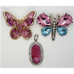 2-PINK BUTTERFLY RHINESTONE BROOCHES PLUS