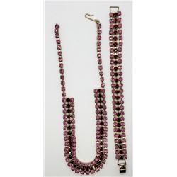 SET! VINTAGE PINK AND RED RHINESTONE NECKALCE