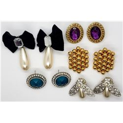 5-PAIRS OF PIERCED EARRINGS-RHINESTONES-