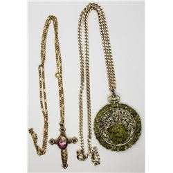 2-VINTAGE GOLD TONED NECKLACES (1)WITH LIME