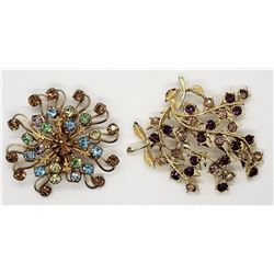 2-VINTAGE GOLD TONED BROOCHES WITH PASTEL