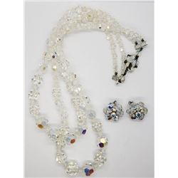 VINTAGE CLEAR BEADED LAYERED NECKLACE WITH