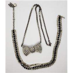 2-VINTAGE SILVER TONED RHINESTONE NECKLACES