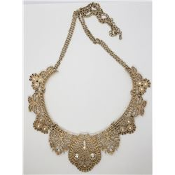 MODERN STYLE GOLD TONED BIB PANEL NECKLACE