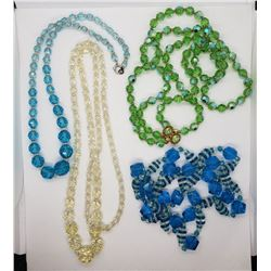 4-VINTAGE GREEN AND BLUE BEADED NECKLACES
