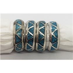 4-MATCHING STERLING/TURQUOISE BANDS