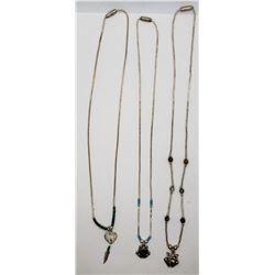 3-LIQUID SILVER NECKLACES (2) FROG PENDANTS