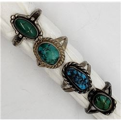 4-STERLING TURQUOISE RINGS
