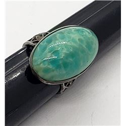 BEAUTIFUL BLUE/GREEN STONE STERLING RING