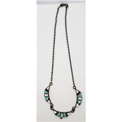 ZUNI STERLING NECKLACE w/INLAY TURQUOISE