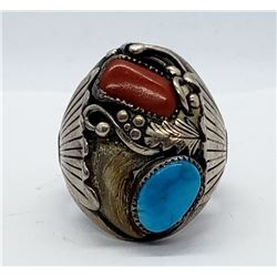 NAVAJO MENS RING SIZE 11 STERLING