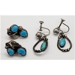 2-STERLING TURQUOISE EARRINGS