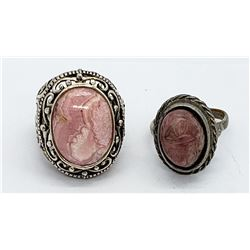 2-PINK MARBLE STONE STERLING RINGS