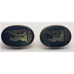 LARGE MEN'S SIAM STERLING CUFF LINKS