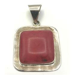 LARGE MEXICO CORAL RED SQR PENDANT