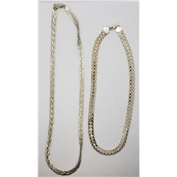 2-ITALY STERLING NECKLACES: (1)16 INCH WOVEN
