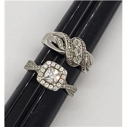 2-SIZE 7 STERLING RINGS WITH CZ STONES!