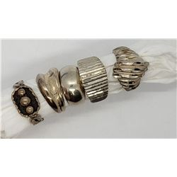 5-STERLING RINGS (1)MARKED MEXICO