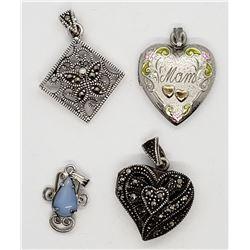 4-STERLING PENDANTS: (1)MARCASITE HEART LOCKET