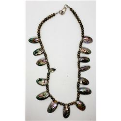 VINTAGE STERLNG BEADED NECKLACE WITH ABILONE
