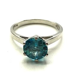 10K GOLD RING W TEAL STONE SZ 7