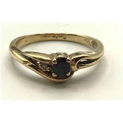 10K GOLD RING BLUE STONE W DIAMOND