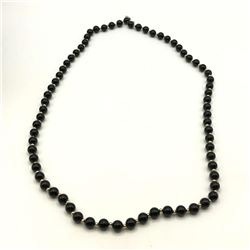 14K GOLD BEADED NECKLACE BLACK/GOLD BEADS