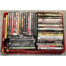 RED TOTE OF DVD MOVIES