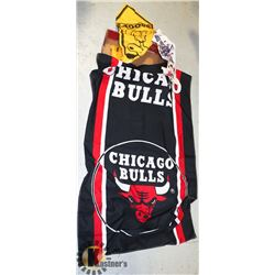 CHICAGO BULLS FLAG AND 2 PENNANTS HARLREM AND SNOO