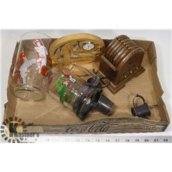 BOX OF GOLF ITEMS AND MORE- CLOCK, STEINS,