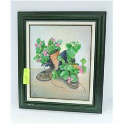 VINTAGE FRAMED OIL PAINTING RECYCLED SHOES