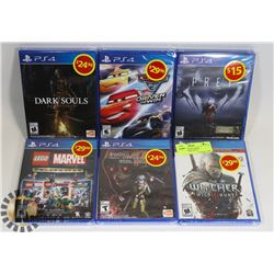 LOT OF 6 NEW PS4 GAMES, INCLUDES DARK SOULS,