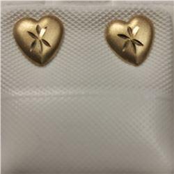 14K YELLOW GOLD HEART SHAPED EARRINGS
