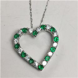 SILVER STIMULATED EMERALD  NECKLACE