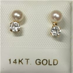 14K WHITE GOLD FRESH WATER PEARL CUBIC