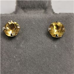 14K YELLOW GOLD 2 CITRINE(6CT)  EARRINGS