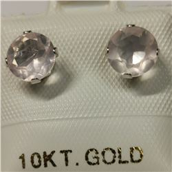 10K YELLOW GOLD ROSE QUARTZ(1.6CT)  EARRINGS