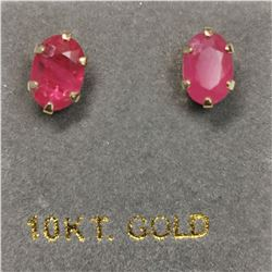 10K YELLOW GOLD RUBY(0.6CT)  EARRINGS,